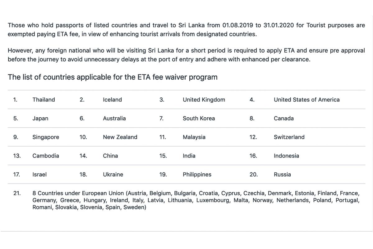 Список стран, с бесплатным ETA в 2019г., виза в Шри Ланку