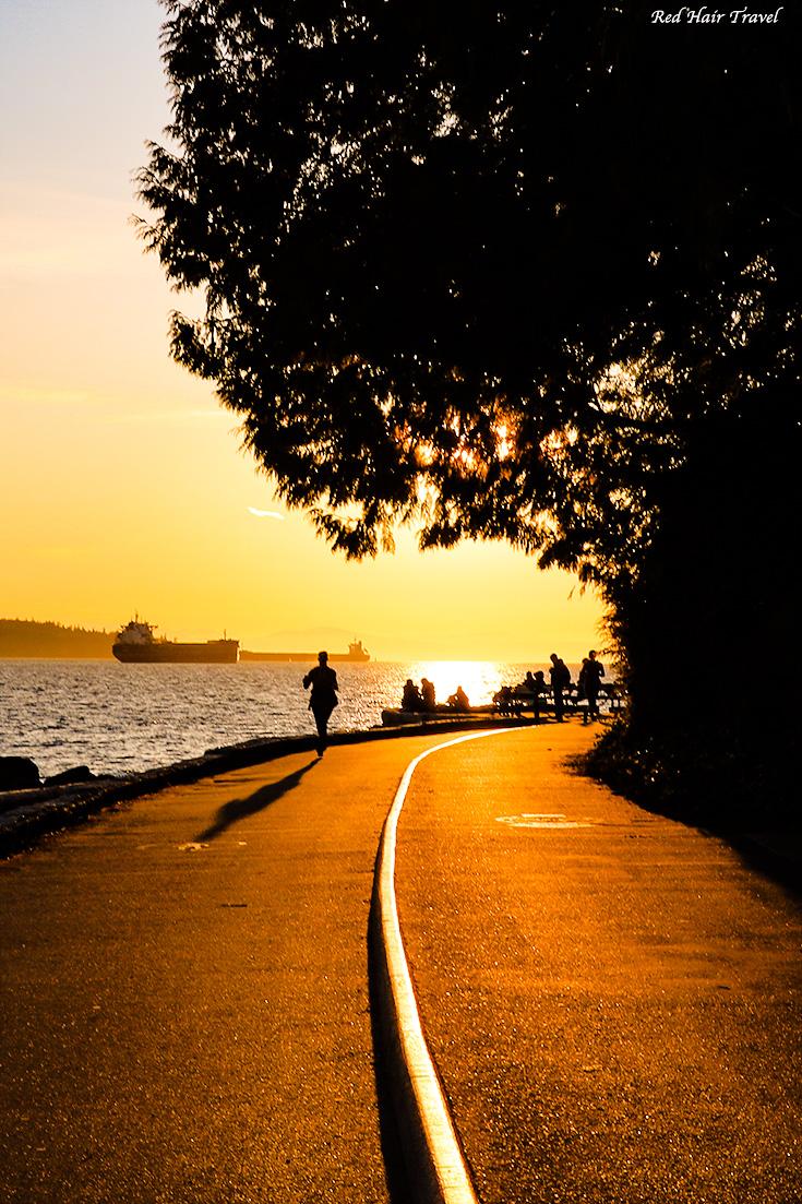 дамба, Ванкувер, закат, Стенли Парк