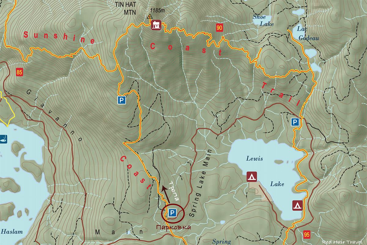 Tin Hat Mountain Sunshine Coast Map
