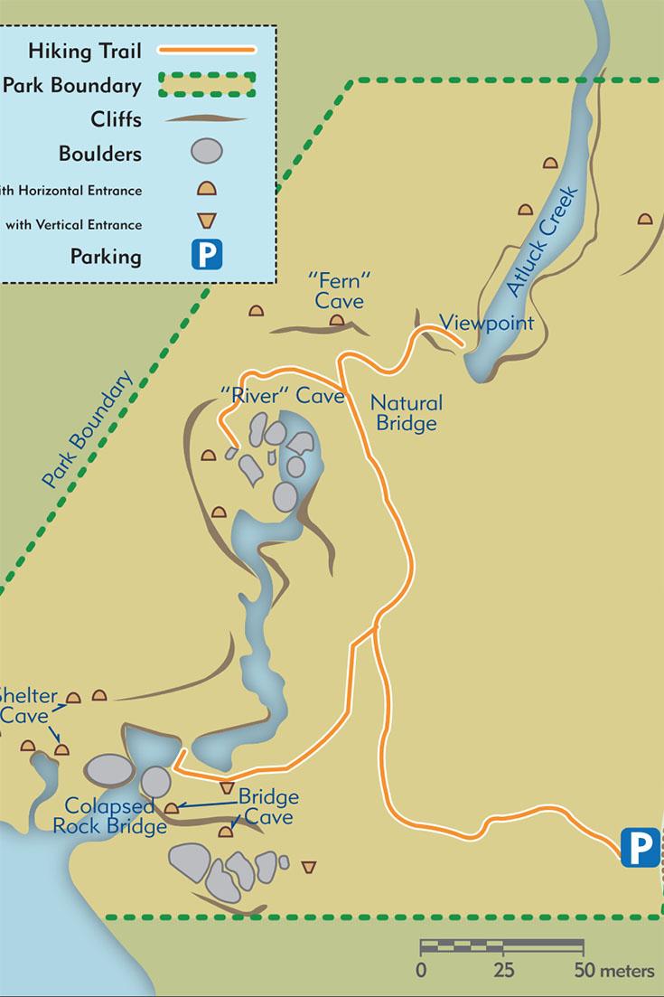 Little Huson Caves, map