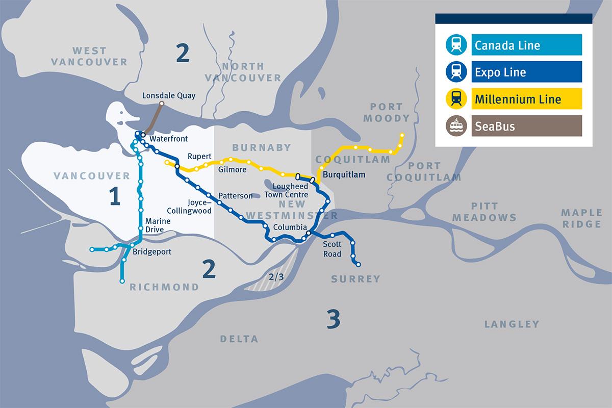 карта метро в Ванкувере