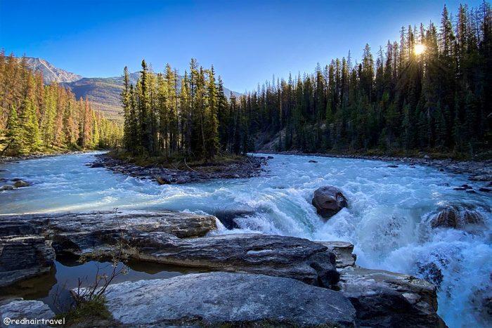 Sunwapta Falls, маршрут по Скалистым Горам Канады