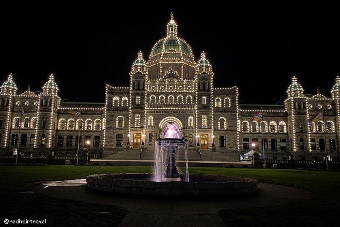 парламент в Виктории ночью
